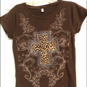 Tops - No brand - size Large women's brown bling top